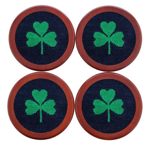 Coasters - Shamrock Needlepoint Coasters In Dark Navy By Smathers & Branson