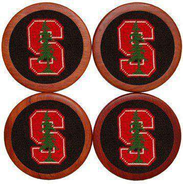 Stanford University Needlepoint Coasters in Black and Red by Smathers & Branson