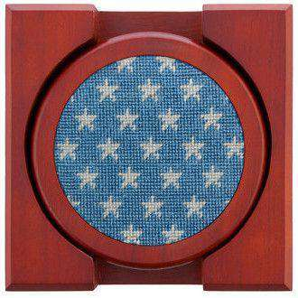 Stars and Stripes Needlepoint Coasters Set by Smathers & Branson