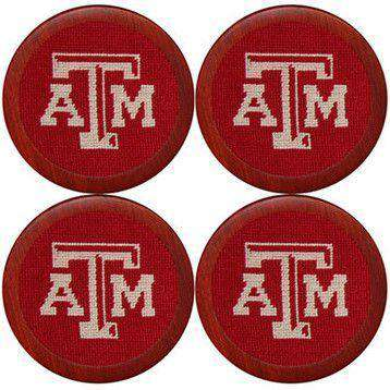 Coasters - Texas A&M Needlepoint Coasters In Maroon By Smathers & Branson
