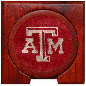 Texas A&M Needlepoint Coasters in Maroon by Smathers & Branson