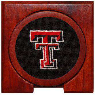 Texas Tech Needlepoint Coasters in Black by Smathers & Branson