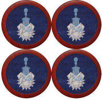 The Citadel Needlepoint Coasters in Blue by Smathers & Branson