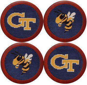 The Georgia Institute of Technology Needlepoint Coasters in Navy by Smathers & Branson