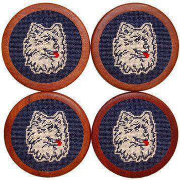 Coasters - University Of Connecticut Needlepoint Coasters In Navy By Smathers & Branson