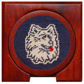University of Connecticut Needlepoint Coasters in Navy by Smathers & Branson