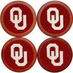 Coasters - University Of Oklahoma Needlepoint Coasters In Crimson By Smathers & Branson