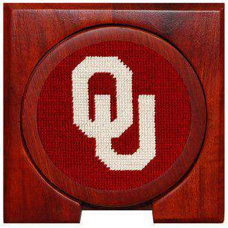 University of Oklahoma Needlepoint Coasters in Crimson by Smathers & Branson