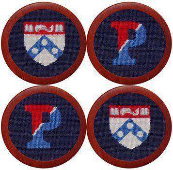 University of Pennsylvania Needlepoint Coasters in Navy by Smathers & Branson