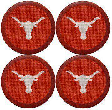 University of Texas Needlepoint Coasters in Burnt Orange by Smathers & Branson