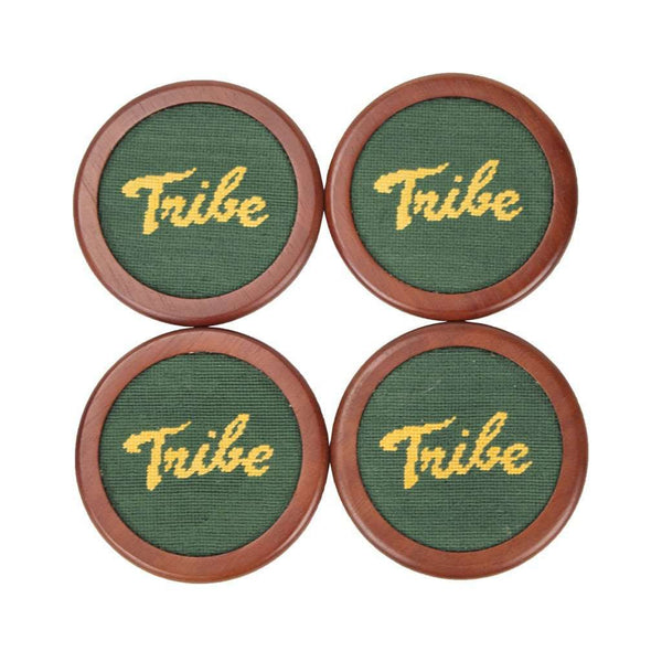 William & Mary Tribe Needlepoint Coaster Set in Hunter by Smathers & Branson