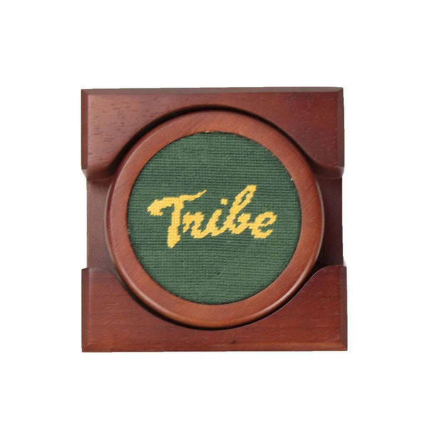 Coasters - William & Mary Tribe Needlepoint Coaster Set In Hunter By Smathers & Branson