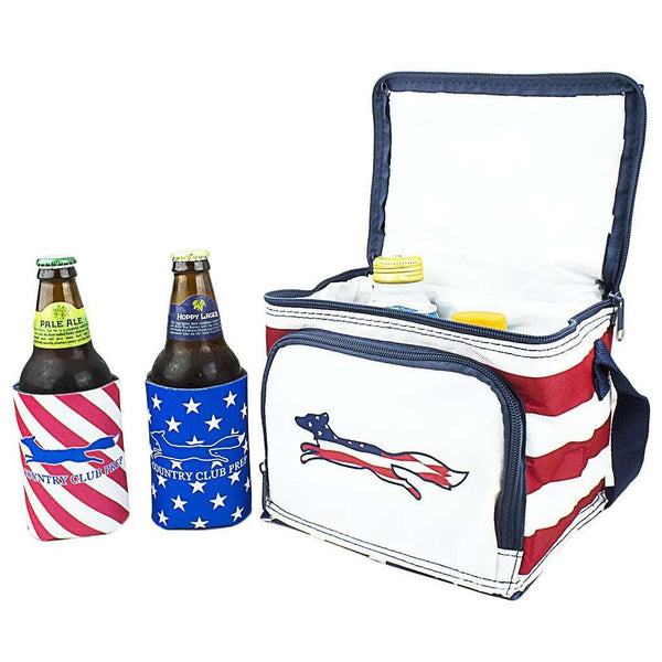Patriotic Longshanks Cooler in Red, White, & Blue by Country Club Prep