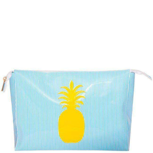 Betty Cosmetic Case in Blue Sripe with Yellow Pineapple by Lolo