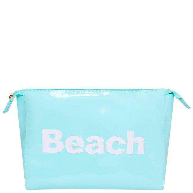 Cosmetic Bags - Betty Cosmetic Case In Light Blue With White Beach By Lolo