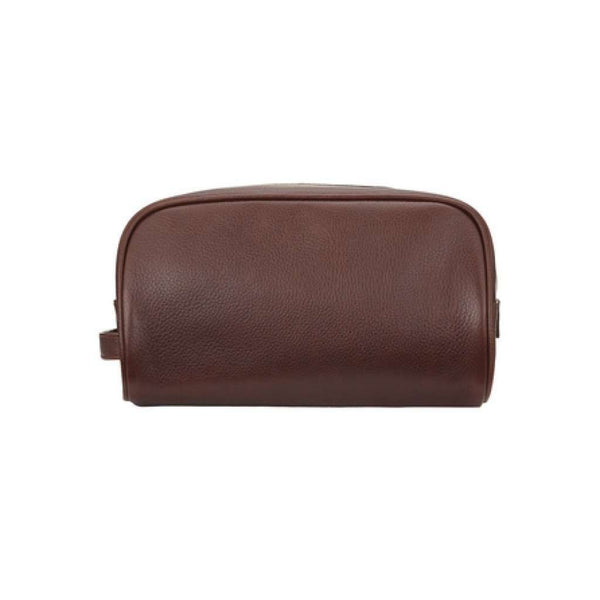 Leather Washbag in Dark Brown by Barbour