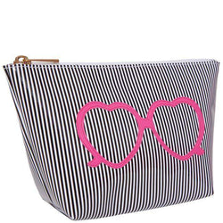 Cosmetic Bags - Medium Avery Case In Black Stripe With Pink Heart Shaped Glasses By Lolo
