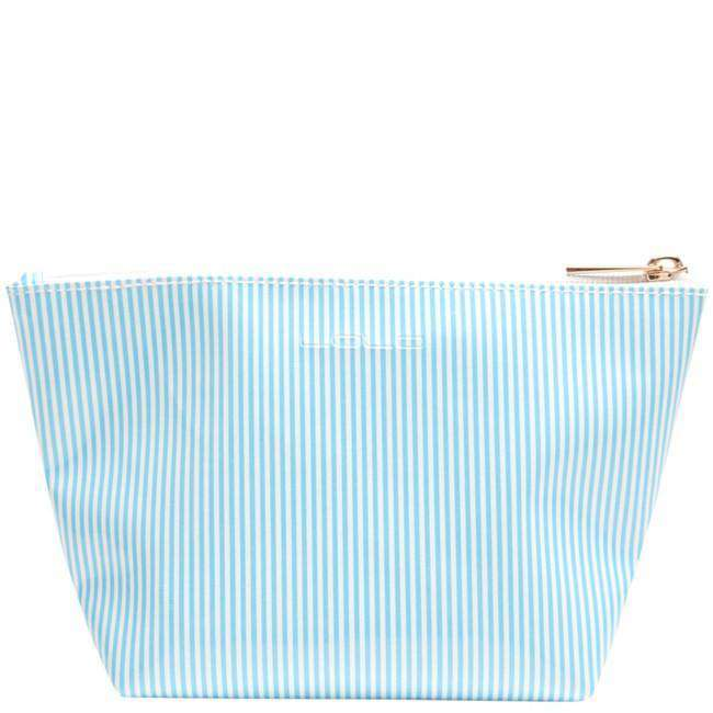 Cosmetic Bags - Medium Avery Case In Blue Stripe With Pink Flip Flop By Lolo