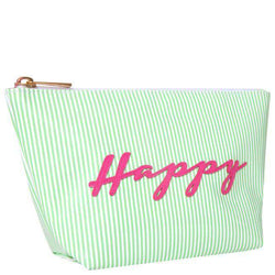 Cosmetic Bags - Medium Avery Case In Green Stripe With Pink Happy By Lolo