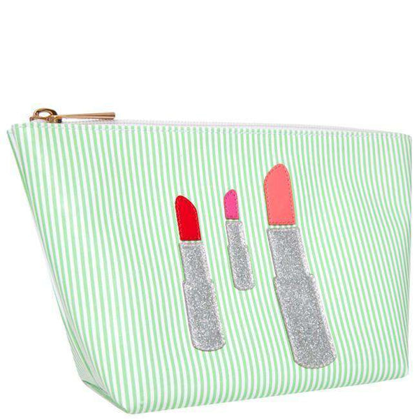 Medium Avery Case in Green Stripe with Silver Glitter Lipstick by Lolo