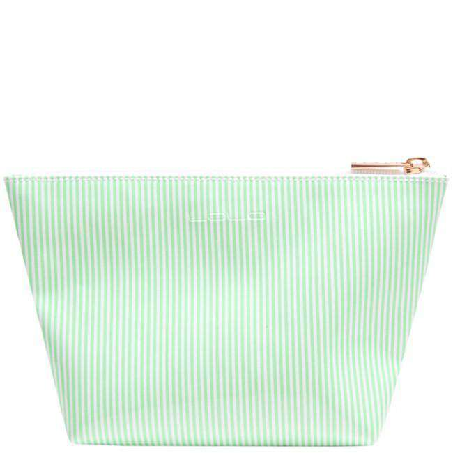 Cosmetic Bags - Medium Avery Case In Green Stripe With Silver Glitter Lipstick By Lolo