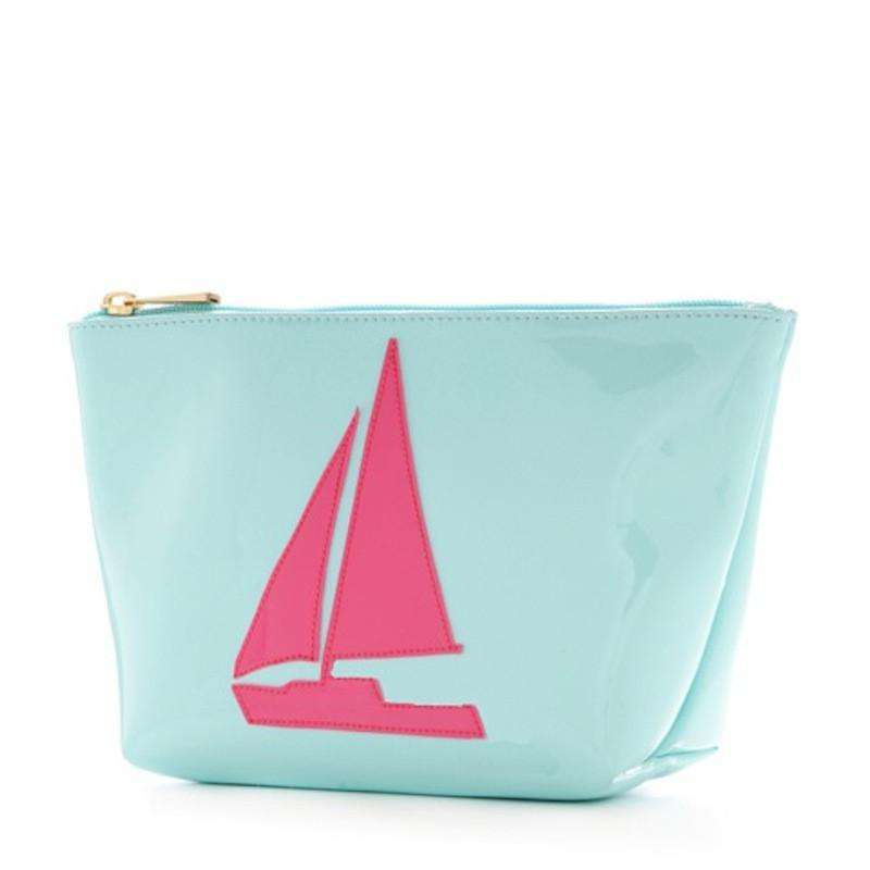 Cosmetic Bags - Medium Avery Case In Light Blue With Pink Sailboat By Lolo