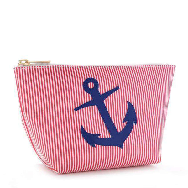Medium Avery Case in Red Stripe with Navy Anchor by Lolo