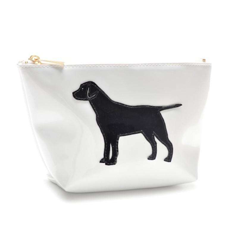 Cosmetic Bags - Medium Avery Case In White With Black Lab By Lolo