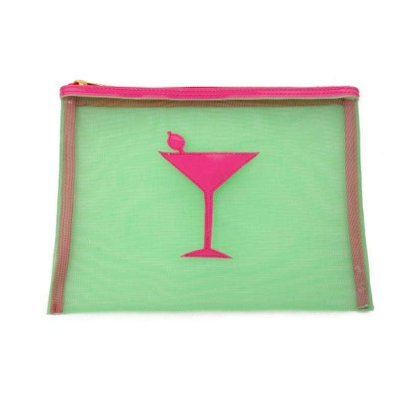 Cosmetic Bags - Medium Mesh Avery Case In Green With Pink Martini By Lolo
