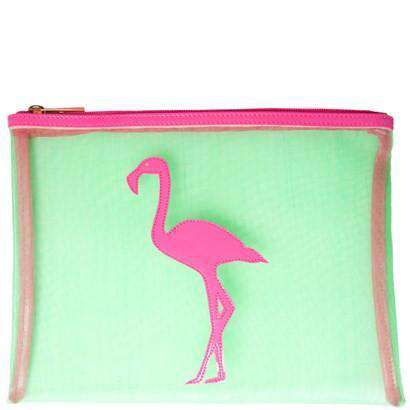 Cosmetic Bags - Mesh Stanley Case In Green With Pink Flamingo By Lolo