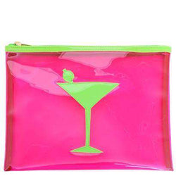 Cosmetic Bags - Mesh Stanley Case In Green With Pink Martini By Lolo