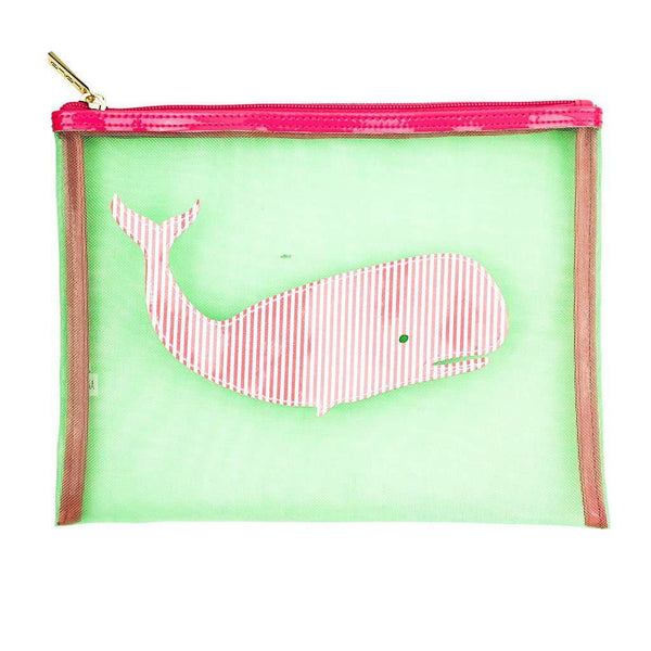 Mesh Stanley Case in Green with Pink Striped Whale by Lolo
