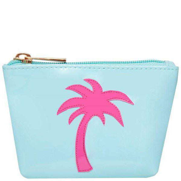 Mini Avery Change Purse in Light Blue with Pink Palm Tree by Lolo