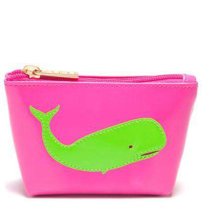 Cosmetic Bags - Mini Avery Change Purse In Pink With Green Whale By Lolo