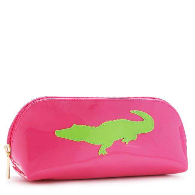 Cosmetic Bags - Pink Reynolds Case With Green Alligator By Lolo