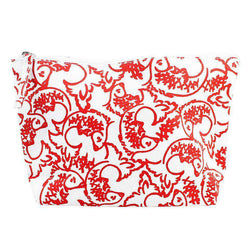 Cosmetic Bags - Red Fish Zip Bag By Hiho - FINAL SALE