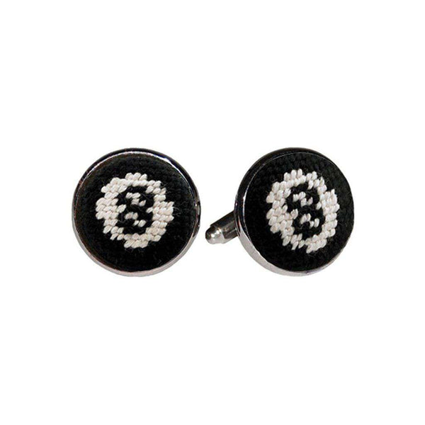 8 Ball Needlepoint Cufflinks in Black by Smathers & Branson