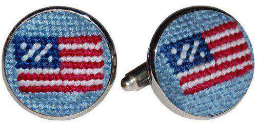 American Flag Needlepoint Cufflinks in Antique Blue by Smathers & Branson