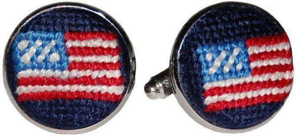 American Flag Needlepoint Cufflinks in Navy by Smathers & Branson
