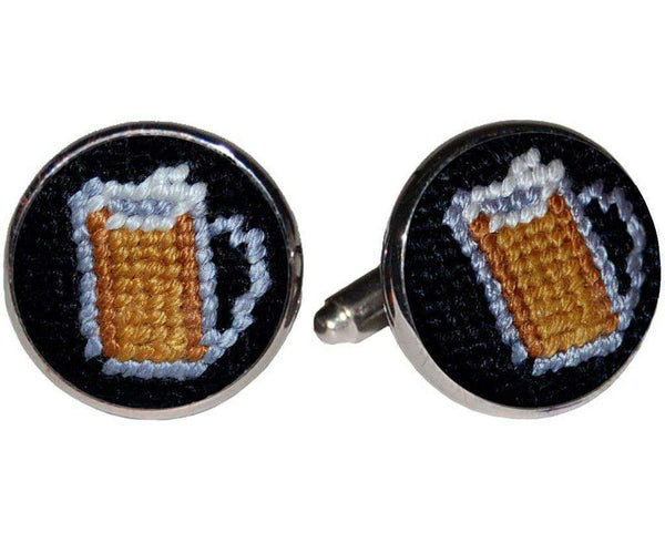 Beer Mugs Needlepoint Cufflinks in Black by Smathers & Branson