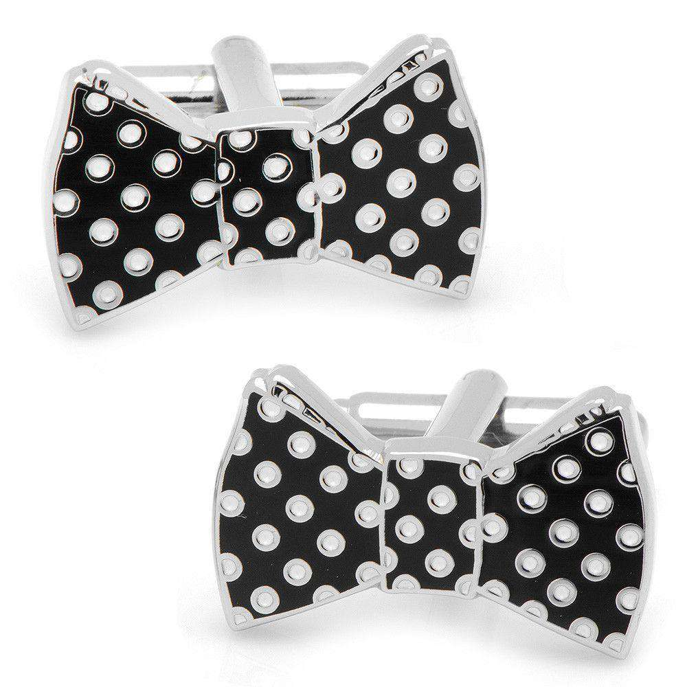 Cufflinks - Bowtie Cufflinks In Black And White Polka Dots By CufflinksInc