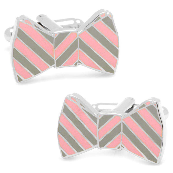 Cufflinks - Bowtie Cufflinks In Grey And Pink Stripes By CufflinksInc