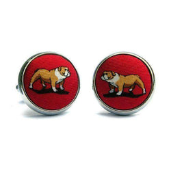 Cufflinks - Bulldog Bonanza Silk Fabric Cufflinks In Red By Bird Dog Bay