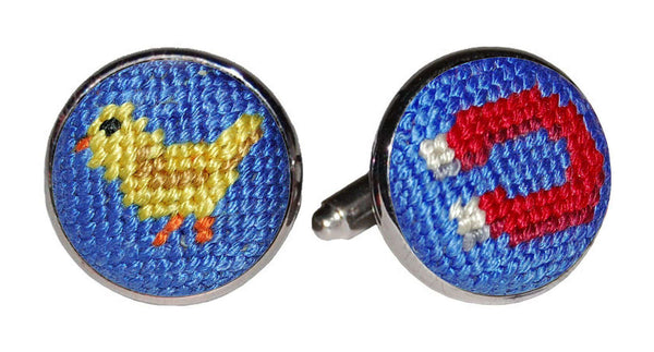Chick Magnet Needlepoint Cufflinks by Smathers & Branson