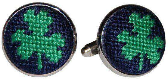 Cufflinks - Clover Needlepoint Cufflinks In Navy By Smathers & Branson