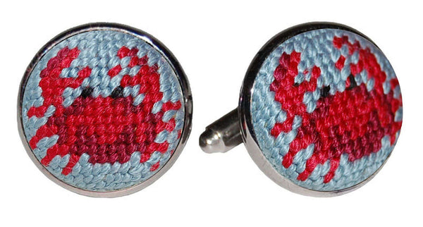 Crab Needlepoint Cufflinks by Smathers & Branson