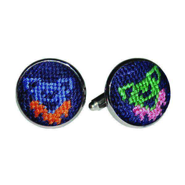 Cufflinks - Dancing Bears Needlepoint Cufflinks By Smathers & Branson
