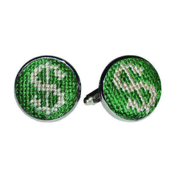 Dollar Sign Needlepoint Cufflinks by Smathers & Branson
