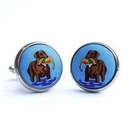 Cufflinks - Duck Dogs Silk Fabric Cufflinks In Light Blue By Bird Dog Bay
