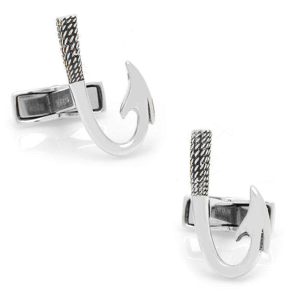 Fish Hook Curfflinks in Sterling Silver by CufflinksInc